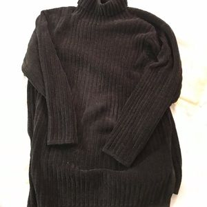 EXPRESS TRICOT RIBBED LONG TURTLENECK SWEATER L
